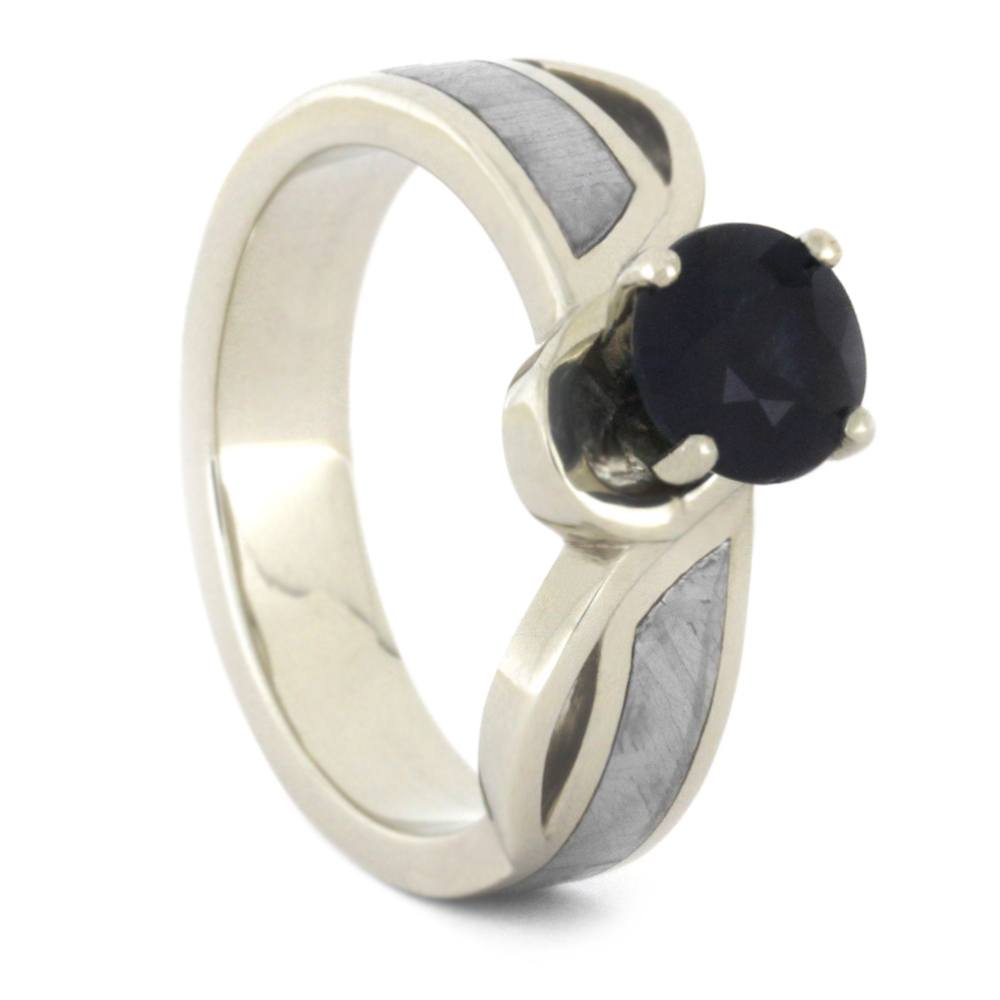 Blue Sapphire Engagement Ring, Meteorite Ring, White Gold Ring-3363 - Jewelry by Johan