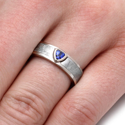 Men's White Gold Wedding Band With Blue Sapphire and Meteorite-2064 - Jewelry by Johan