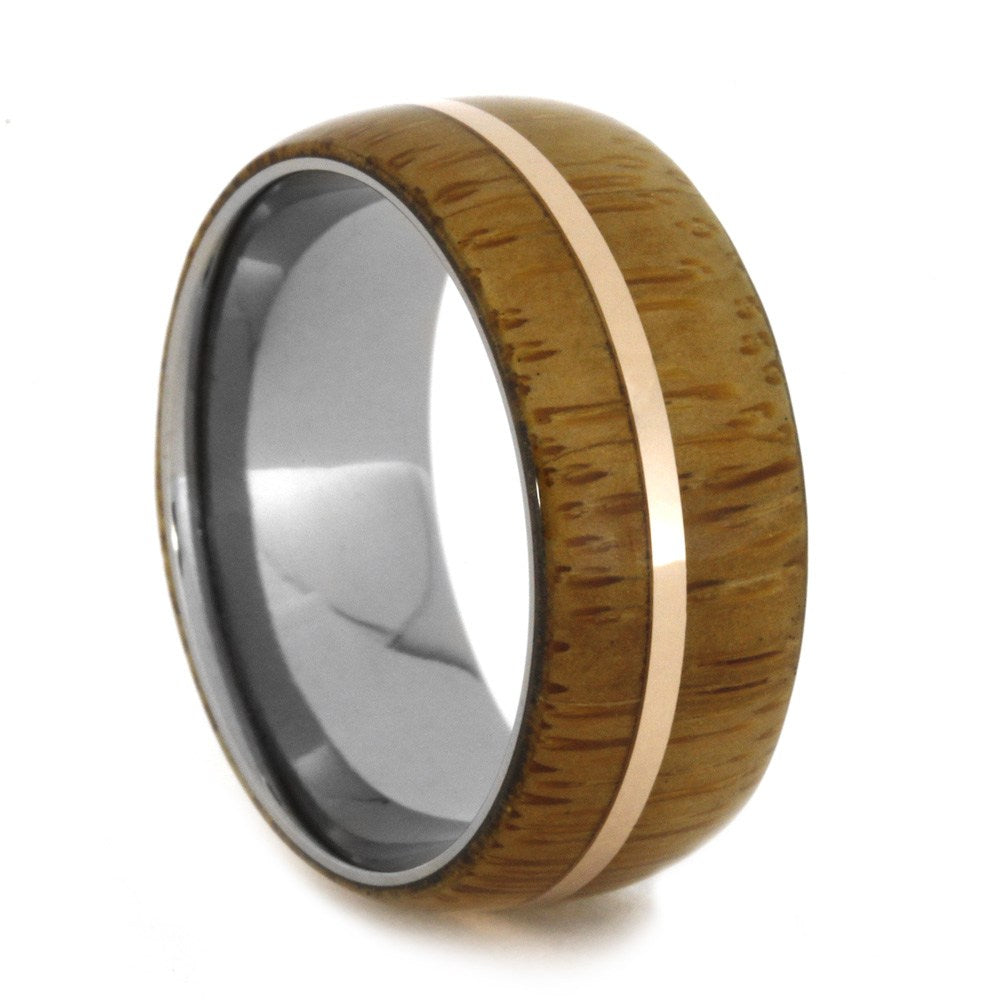 Bamboo Ring, Wood Wedding Band with 14k Rose Gold-1997 - Jewelry by Johan