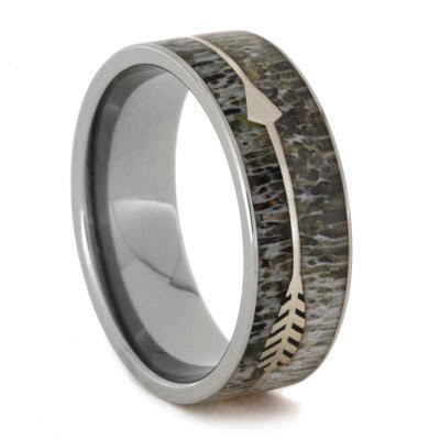 Deer Antler Men's Wedding Band With Sterling Silver Arrow