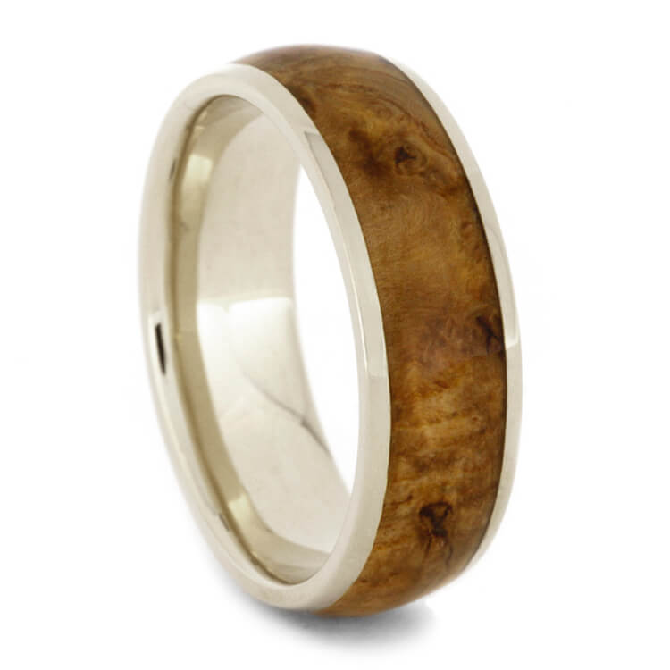 Black Ash Burl Wood Wedding Band, 18k White Gold Ring-2626 - Jewelry by Johan