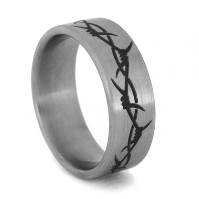 Engraved Titanium Ring With Barbed Wire Image