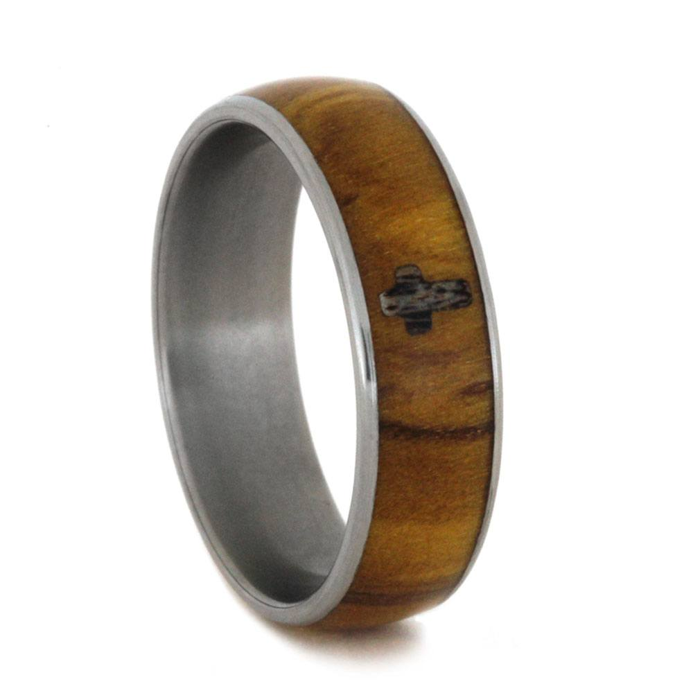Olive Wood Wedding Band With Antler Cross, Size 8.5-RS9231 - Jewelry by Johan