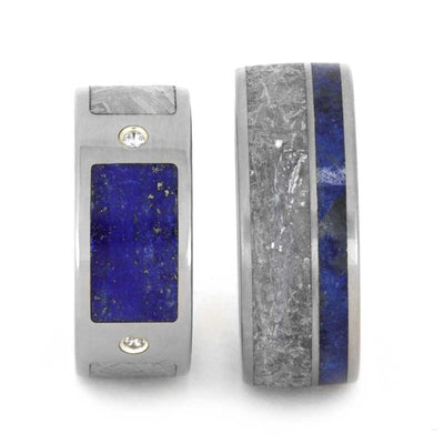 His and Hers Wedding Band Set with Meteorite and Lapis Lazuli-2991 - Jewelry by Johan