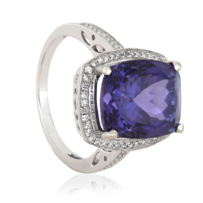 Rare Violet-Blue Tanzanite Engagement Ring With Diamonds, 14k White Gold-RS9742