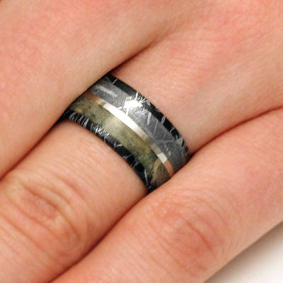 Mokume Wedding Band With Dinosaur Bone And Meteorite-3134 - Jewelry by Johan