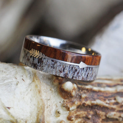 Sterling Silver Arrow Ring With Ironwood and Deer Antler-2133 - Jewelry by Johan