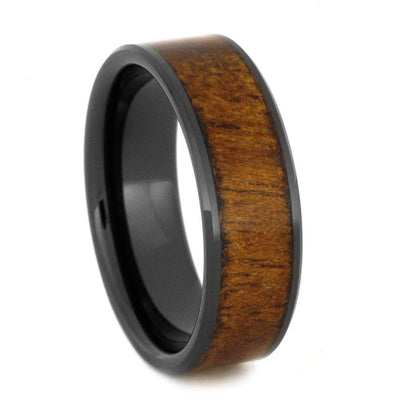 Black Ceramic Wood Rings, Koa And Bloodwood Wedding Band Set, Wooden Jewelry-2672 - Jewelry by Johan