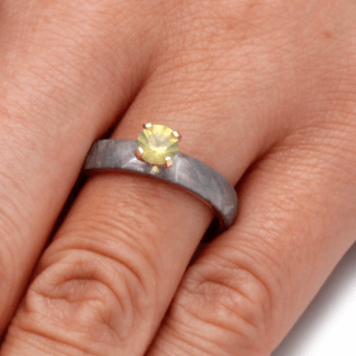 Yellow Sapphire Engagement Ring with Meteorite Over Yellow Gold