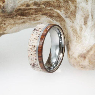 Titanium Ring Inlaid with Ironwood and Deer Antler