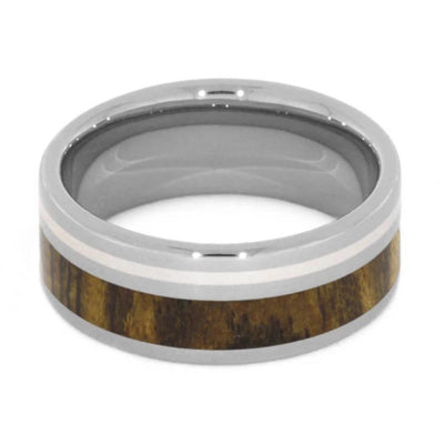 Bocote Wood Wedding Band, Titanium Ring With Sterling Silver-1201 - Jewelry by Johan