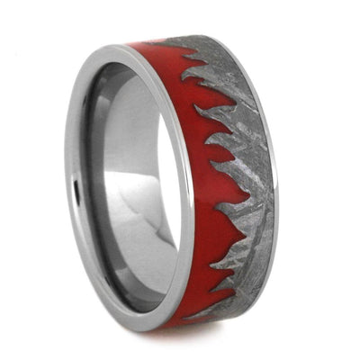 Red Fire Ring With Carved Meteorite In Titanium Band-3175 - Jewelry by Johan
