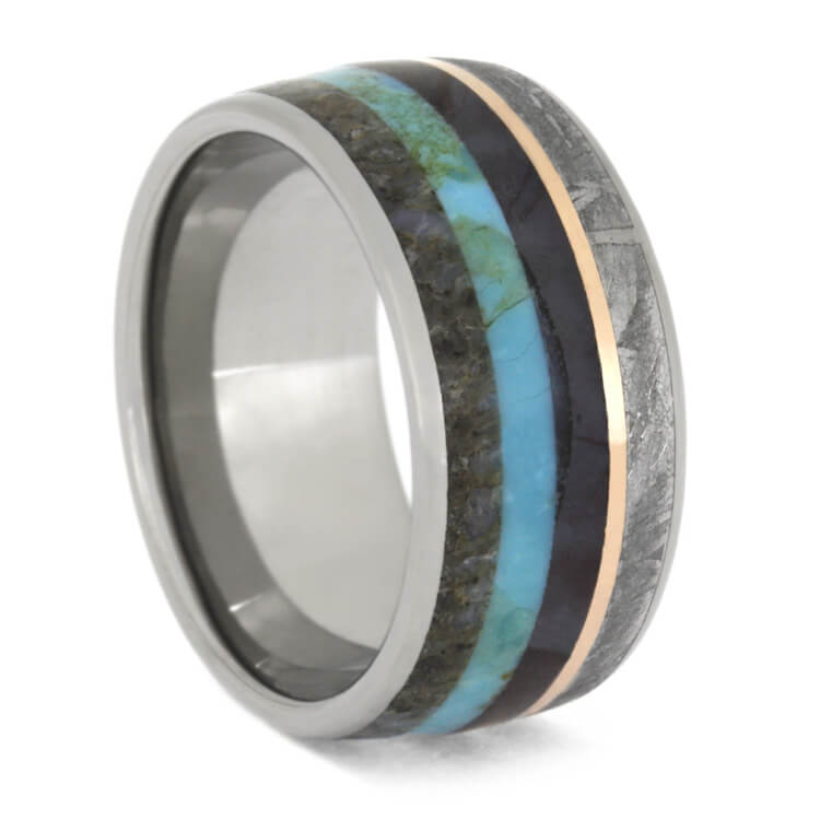 Dino Bone, Turquoise And Meteorite Ring With Rose Gold Stripe, Size 8.5-RS9592 - Jewelry by Johan
