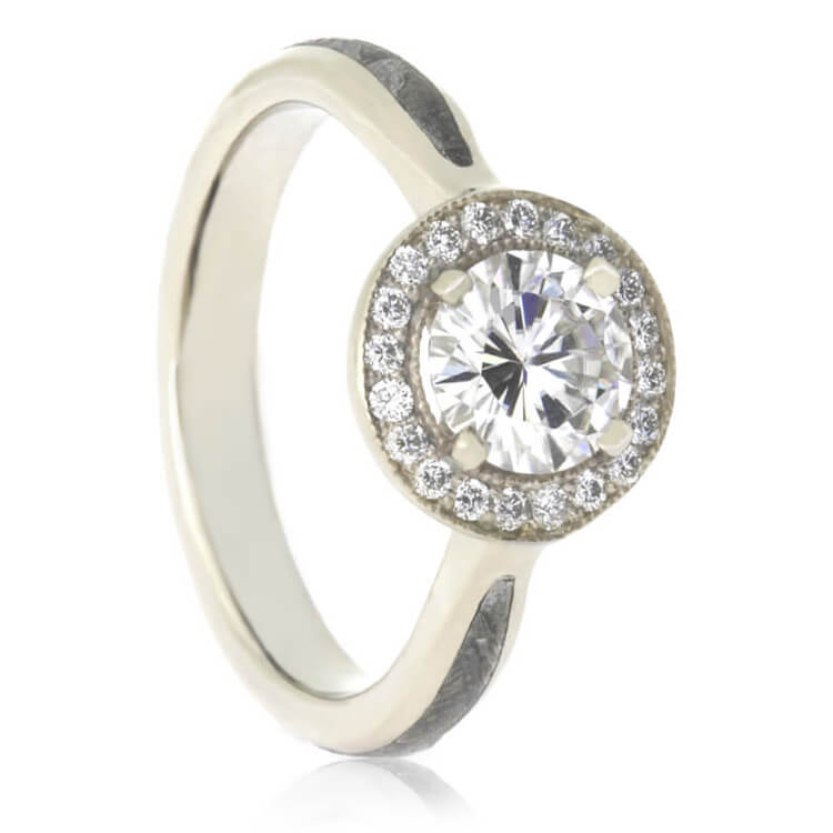 Halo Moissanite Engagement Ring, White Gold Ring With Meteorite