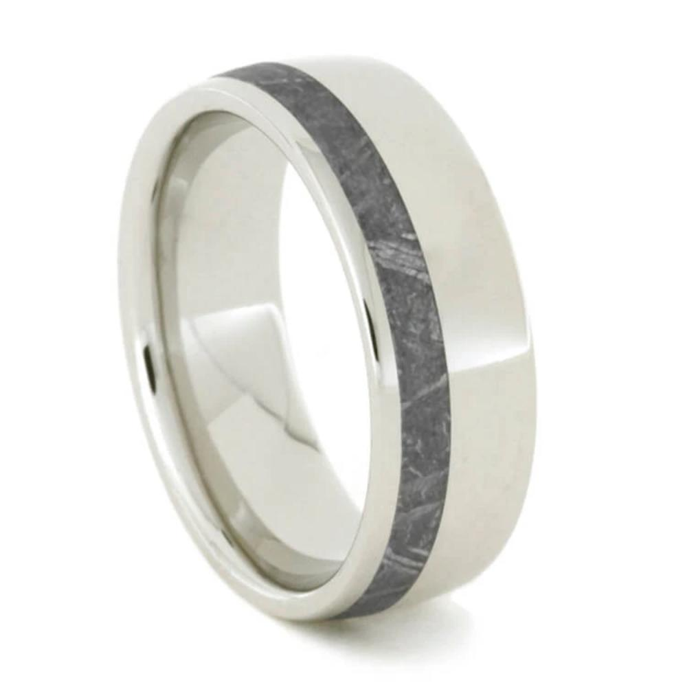 Gibeon Meteorite Wedding Band, Platinum Ring For Men