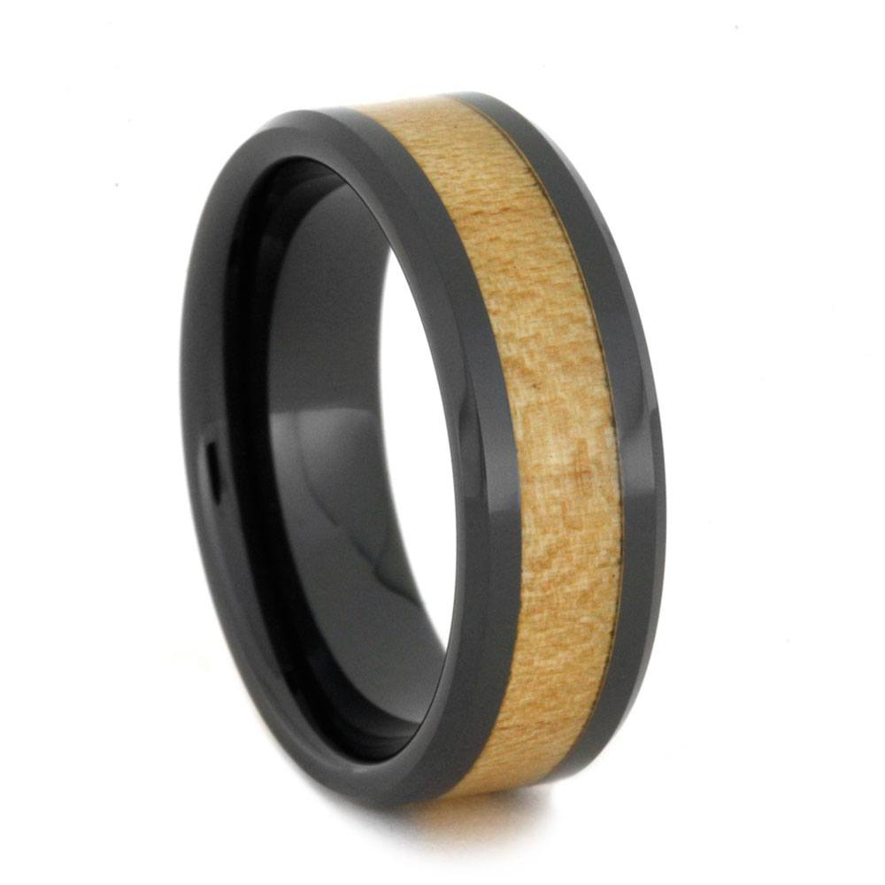 Black Ceramic Wedding Band For Men With Maple Wood