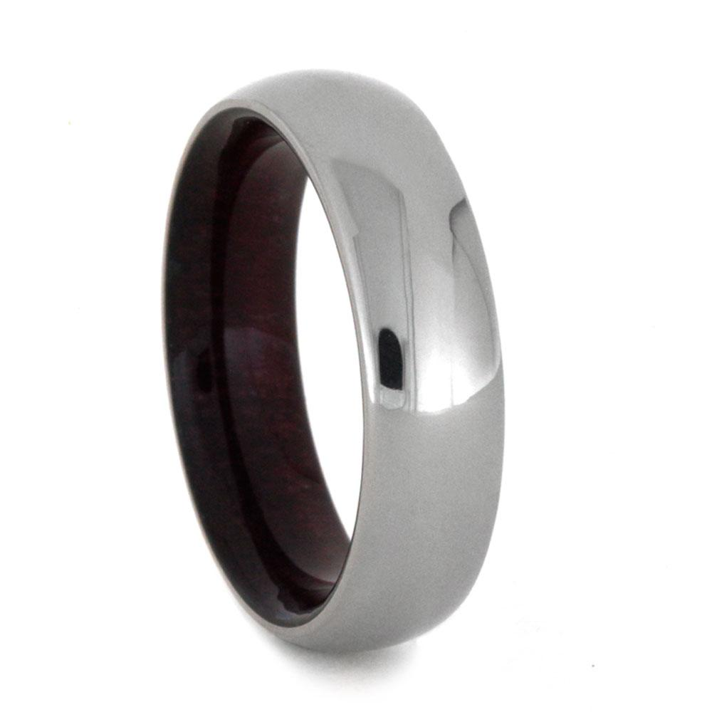Womens Titanium Wedding Band With Purple Heart Wooden Sleeve