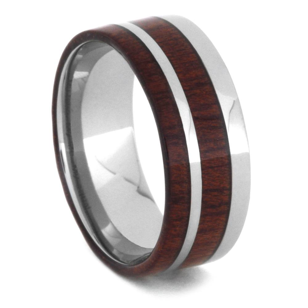 Bloodwood Ring For Men, Titanium Wedding Band-3458 - Jewelry by Johan