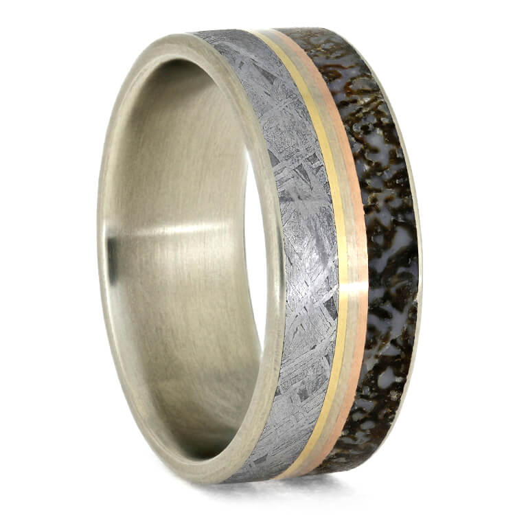 Men's Meteorite Wedding Band With Gold Pinstripe Trio-2764 - Jewelry by Johan