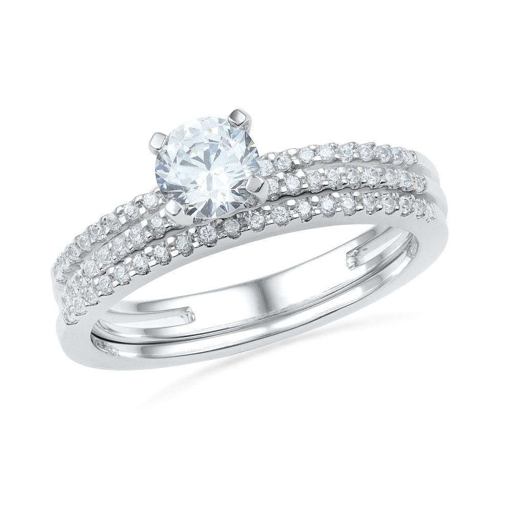 Sterling Silver Diamond Bridal Ring Set-SHRB027473-SS - Jewelry by Johan