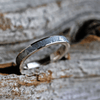 Thin Gibeon Meteorite Wedding Ring In 14k White Gold Band