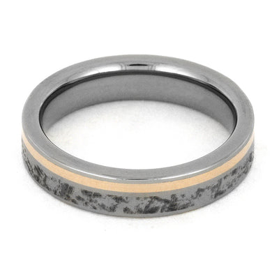 Titanium Wedding Band with Mimetic Meteorite and 14k Rose Gold-3146 - Jewelry by Johan