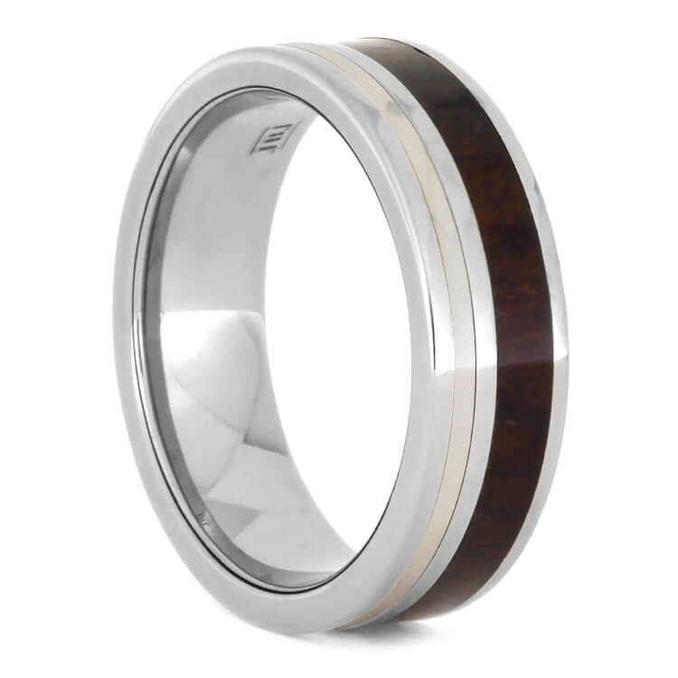 Interchangeable Ring With Ziricote Wood And White Gold Inlays, Size 10-RS9606 - Jewelry by Johan