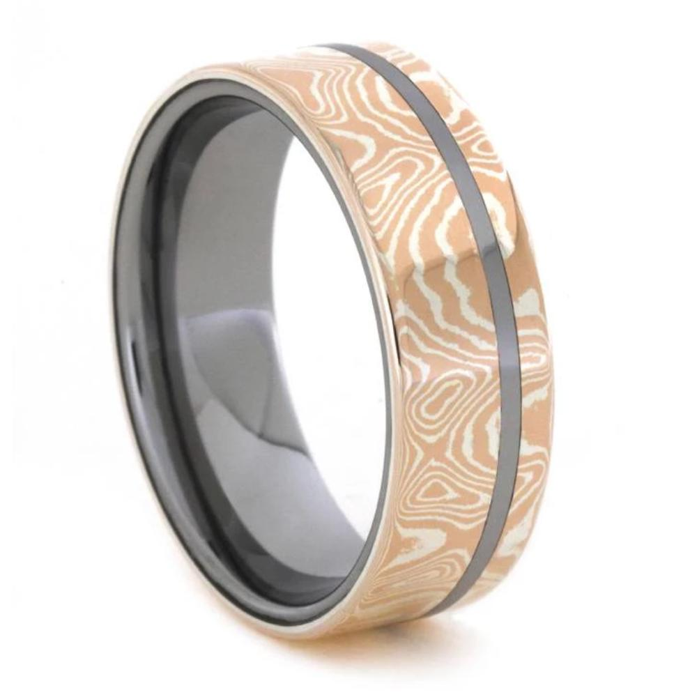 Tungsten Ring With Mokume Gane, Mixed Metal Wedding Band-1009 - Jewelry by Johan