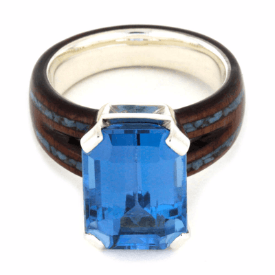London Blue Topaz Engagement Ring In Sterling Silver (4)
