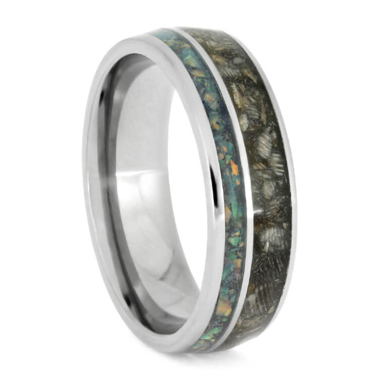 Horse Hoof Ring, Titanium Ring With Opal Inlay, Pet Memorial Jewelry-2724
