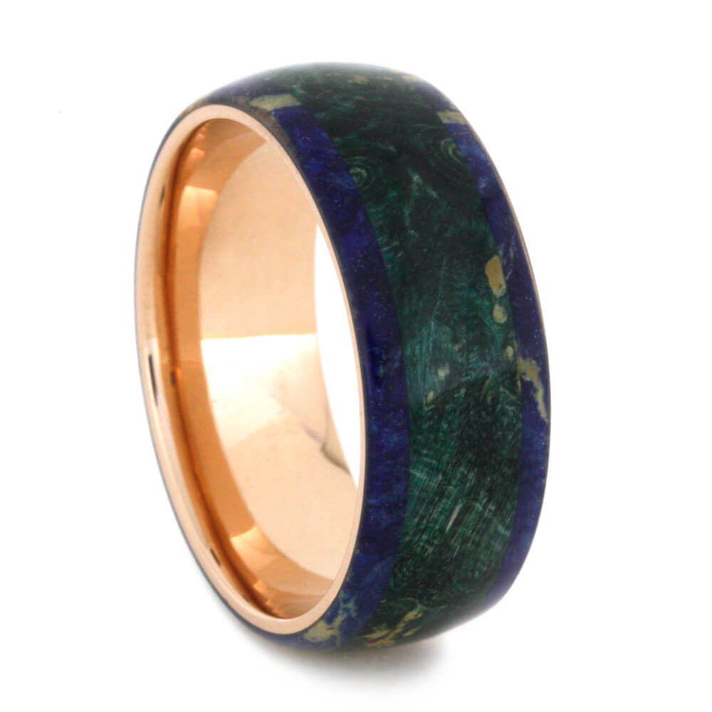 Colorful Box Elder Burl With Rose Gold, Blue And Green Wood Ring-3597 - Jewelry by Johan