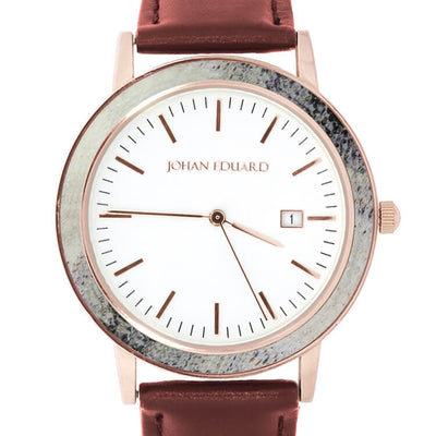 Deer Antler Wrist Watch, Rose Gold Metal And Mocha Brown Leather Strap-JE1004-2