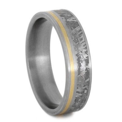 Meteorite And Yellow Gold Wedding Band