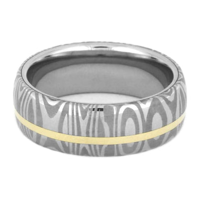 Damascus Steel Wedding Band With 14k Yellow Gold-3532 - Jewelry by Johan