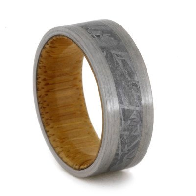 Bamboo Wood Ring with Meteorite and Titanium Edges-1999 - Jewelry by Johan