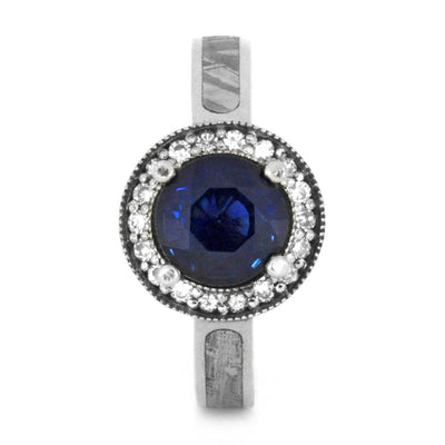 Blue Sapphire Engagement Ring, Moissanite Halo Ring in 14k White Gold-3345 - Jewelry by Johan