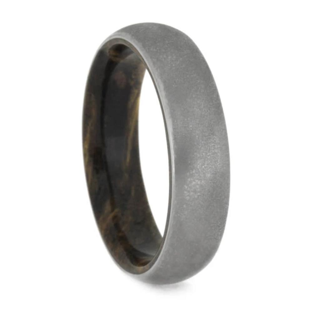 Deep Frosted Titanium Ring, Sindora Wood Wedding Band, Exotic Wood Ring-1470 - Jewelry by Johan