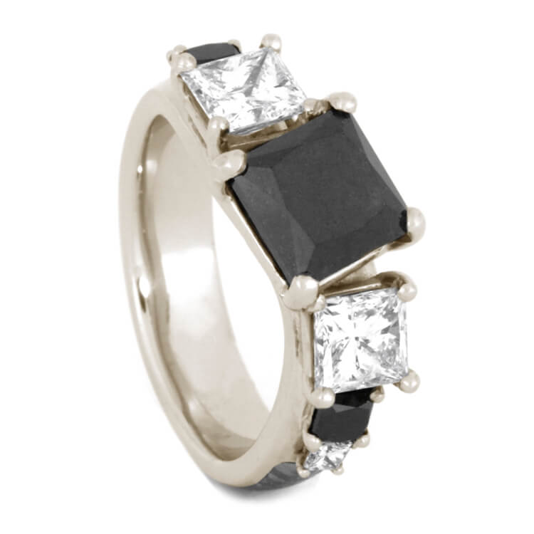 Black Diamond Engagement Ring, White Gold Ring With Curved Design-3338 - Jewelry by Johan