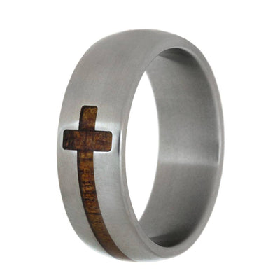 Koa Wood Cross Ring In Titanium Band-2842 - Jewelry by Johan