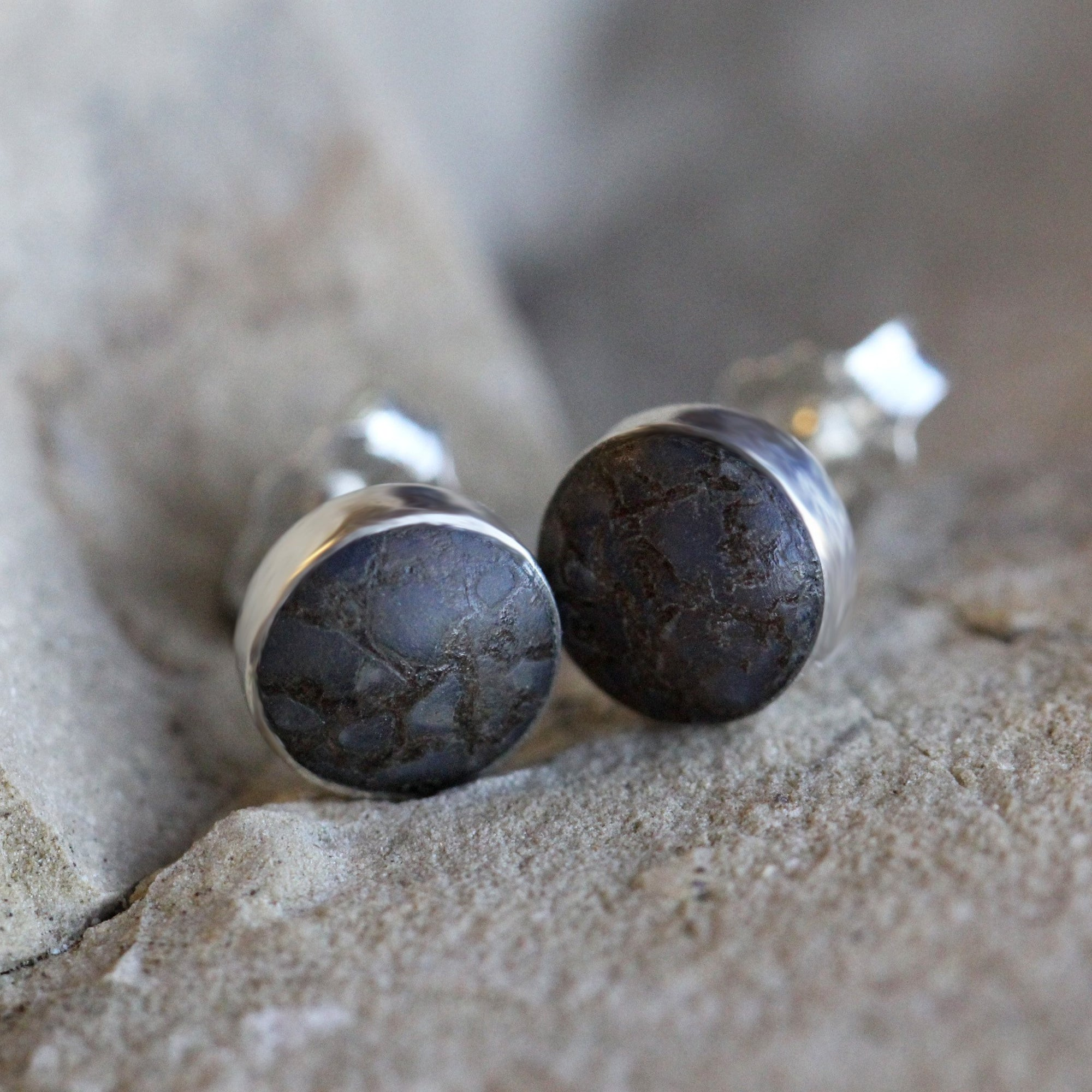 Round Dinosaur Bone Stud Earrings, In Stock-SIG3052 - Jewelry by Johan