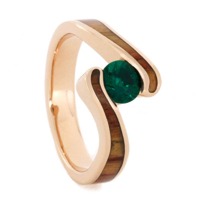 Wood Engagement Ring in Rose Gold Tension Set Emerald Jewelry
