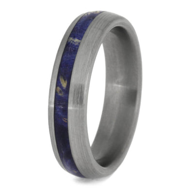 blue box elder burl wood wedding band brushed titanium ring jewelry by johan. Black Bedroom Furniture Sets. Home Design Ideas