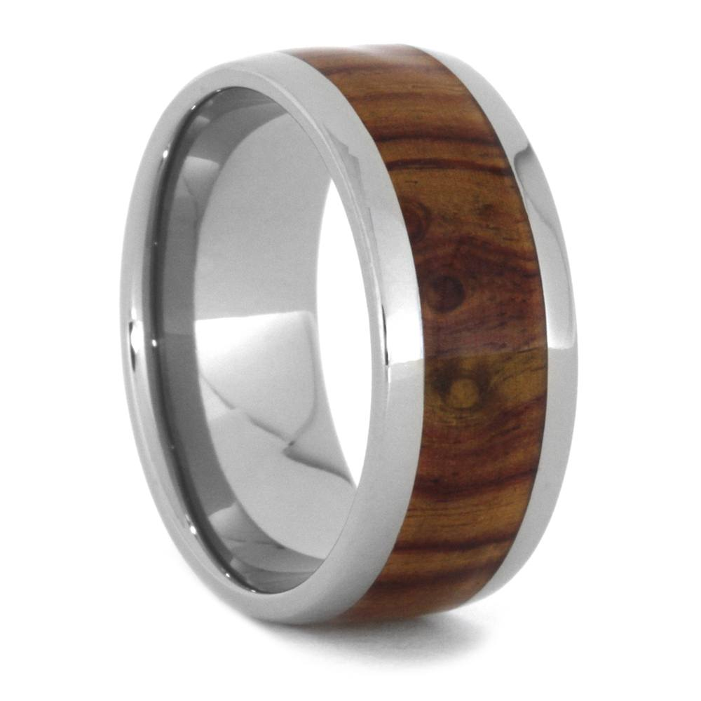 Tulipwood Ring, Titanium Wedding Band For Men-3448