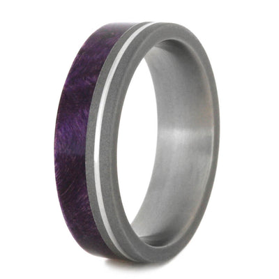 Purple Wood Ring, Sandblasted Titanium With Grooved Pinstripe-2197 - Jewelry by Johan