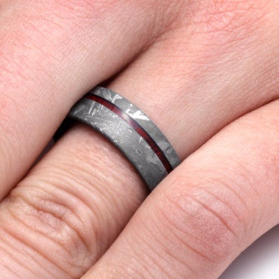 Meteorite Ring with Bloodwood Sleeve and Pinstripe-2247 - Jewelry by Johan