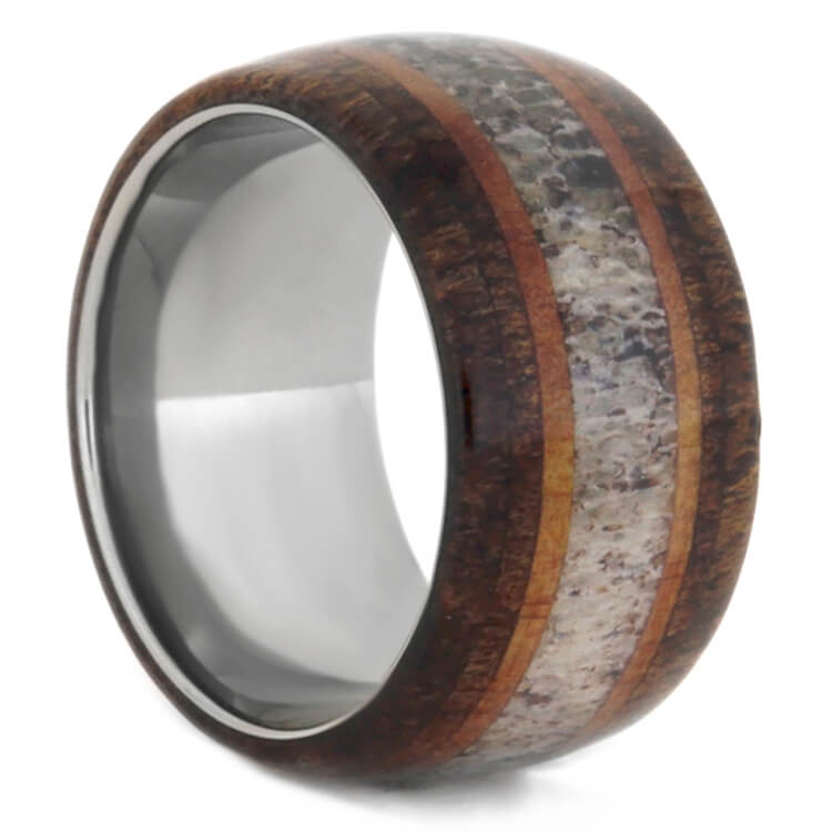 Wood And Antler Men's Wedding Band, Size 8.5-RS9378 - Jewelry by Johan
