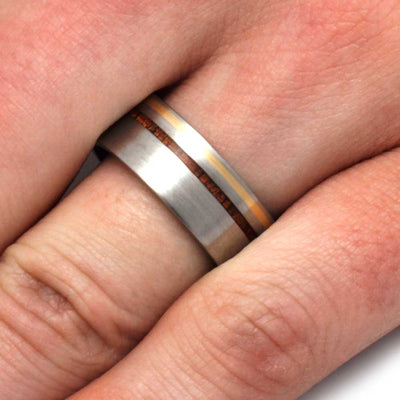 Titanium Ring With 14k Yellow Gold And Kauri Wood Pinstripes-3199 - Jewelry by Johan