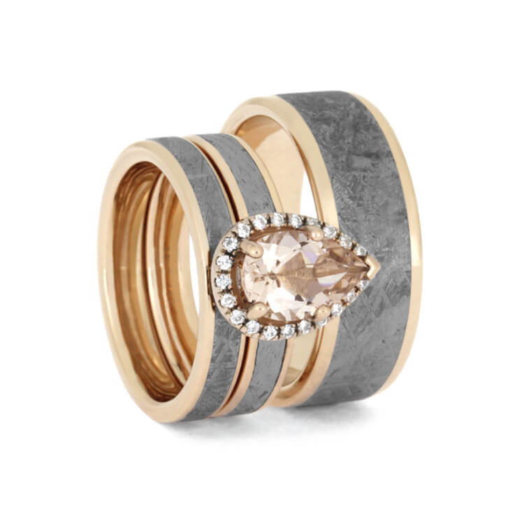 Morganite And Meteorite Wedding Ring Set in 14k Rose Gold-2759 - Jewelry by Johan