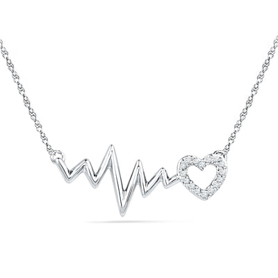 Heartbeat Necklace and Bracelet Gift Set in Sterling Silver-SHGS3008 - Jewelry by Johan