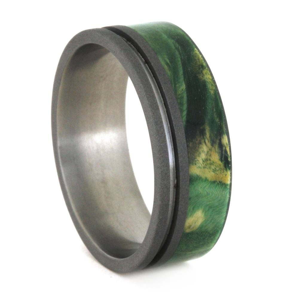 Wood Wedding Ring, Green Ring in Titanium, Green Box Elder Burl-3314 - Jewelry by Johan